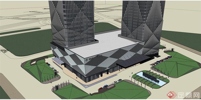 双塔楼商务办公大厦建筑su精致设计模型[原创]