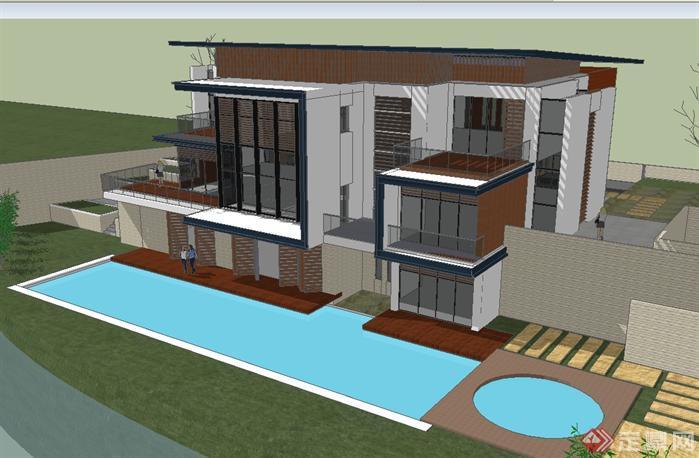 别墅建筑方案su精致设计模型(附室内布置平面图)(6)