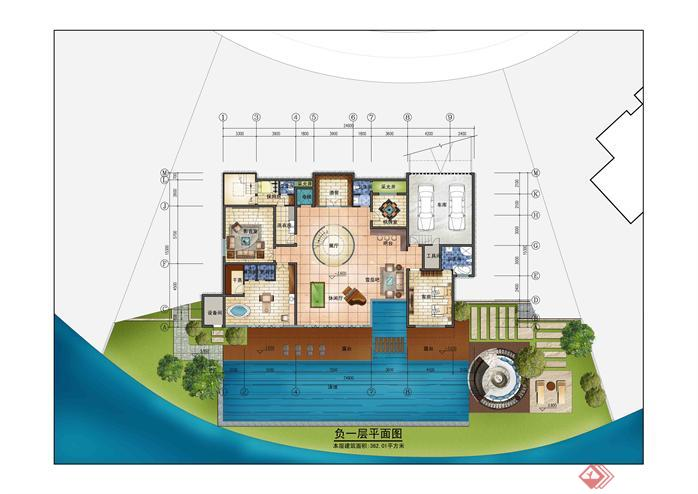 500平方独栋大别墅建筑方案su精致设计模型(附室内布置平面图)(6)