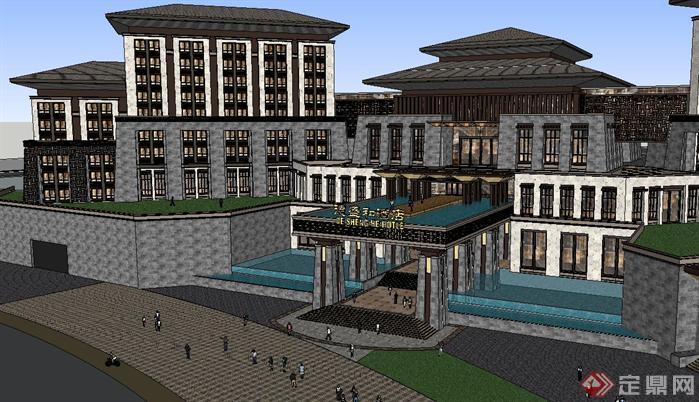 新中式星级酒店主楼建筑方案su精致设计模型(3)图片