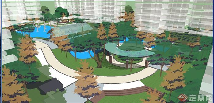 新中式高层小区中庭景观方案su精致设计模型(4)图片