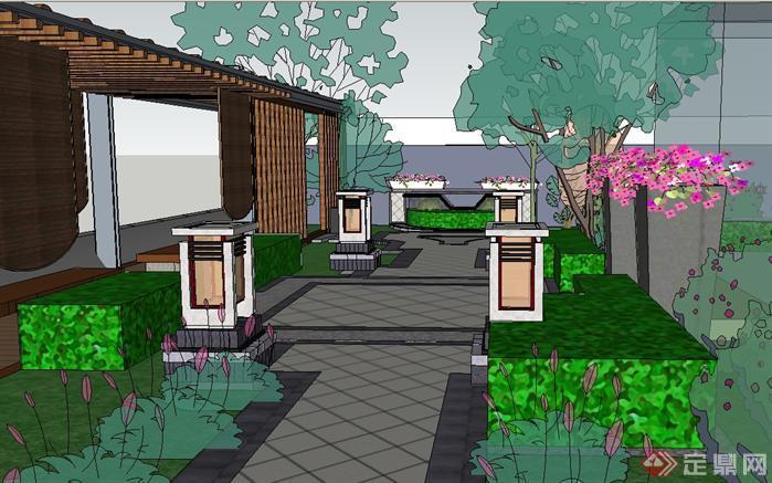新中式别墅小花园方案su精致设计模型[原创]