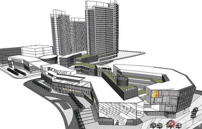 现代商业综合体建筑方案su精致设计模型[原创]