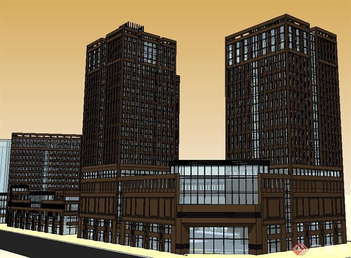 一个现代风格商业中心建筑方案su精致设计模型[原创]