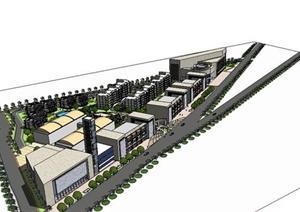 服装工业园规划+部分建筑设计sketchup模型