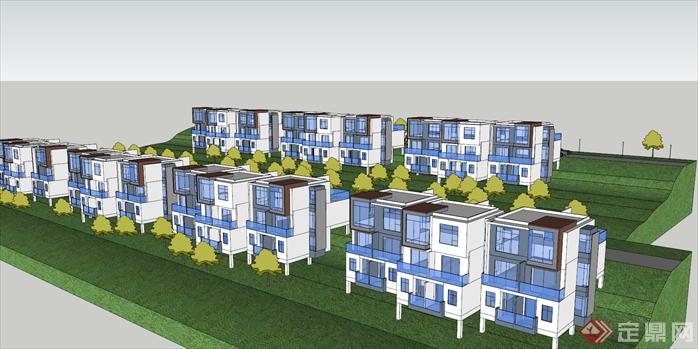 某温泉花园住宅别墅建筑设计方案鸟瞰图(1)
