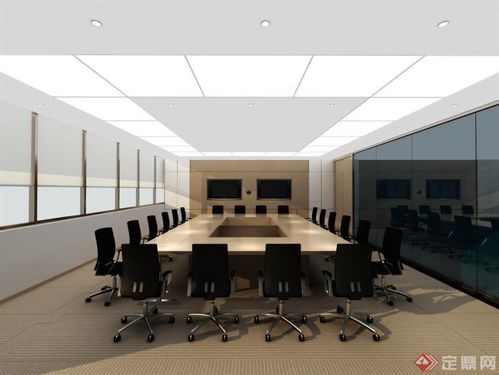 大会议室室内装修设计3d模型