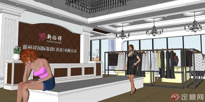 欧式服装店室内设计方案su模型[原创]