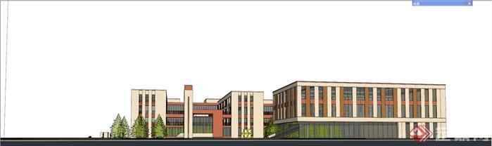 現代風格小學學校校區建筑設計su精致模型[原創]