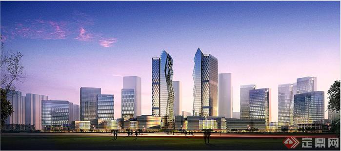 某城市超高层双塔现代风格建筑设计方案[原创]
