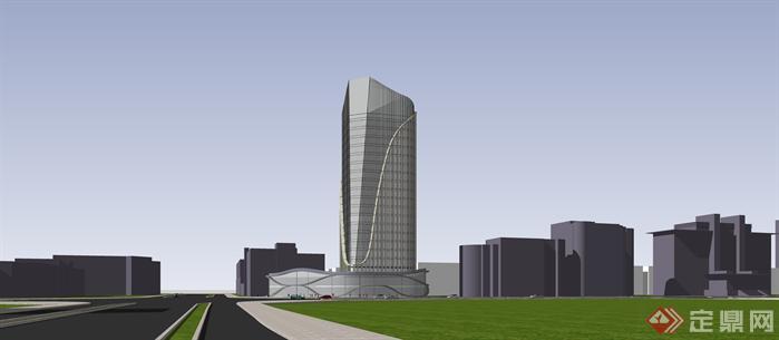 商业办公楼 整个方案设计过程 su精细模型 效果图 cad完整