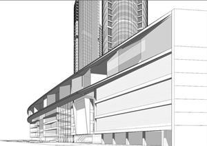广播科技大厦建筑方案SU(草图大师)模型设计
