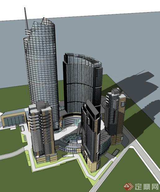广播科技大厦建筑方案su模型设计[原创]