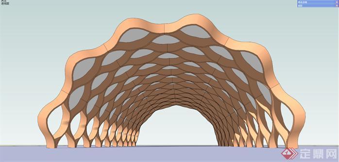 现代景观连廊SU精致设计模型(5)