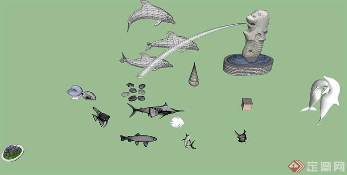 海洋主题雕塑集su精致设计模型(2)