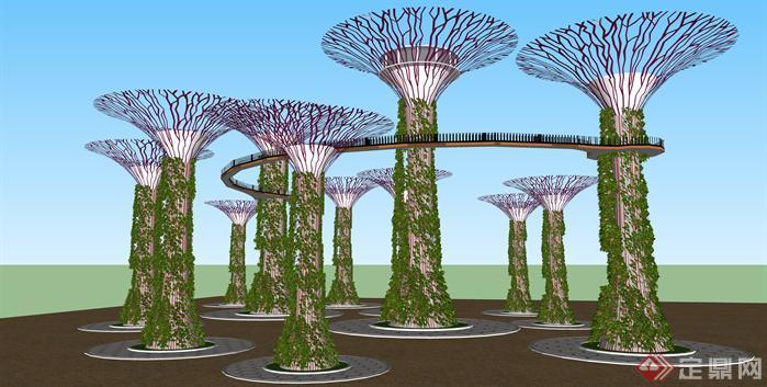 三个花篮景观雕塑SU精致设计模型[原创]