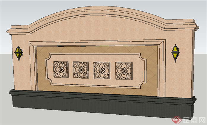 某小区欧式景墙设计方案su模型[原创]