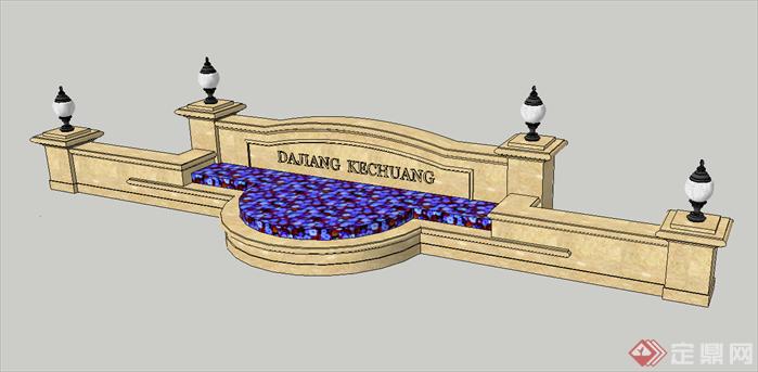 某售楼部入口欧式景墙设计su模型,该景观墙设计造型独特,模型制作非常详细,可以在同类项目中做参考或适当修改后使用。