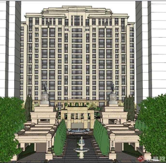 欧式高层住宅小区建筑与景观方案su精致设计模型