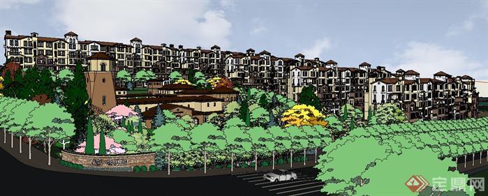 风格——英式小区+会所建筑与景观方案su精致设计