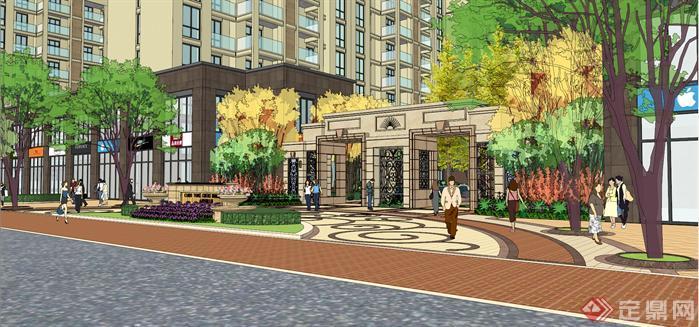新古典风格小区入口景观方案SU精致设计模型