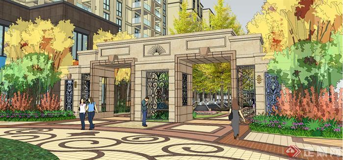 新古典风格小区入口景观方案su精致设计模型[原创]