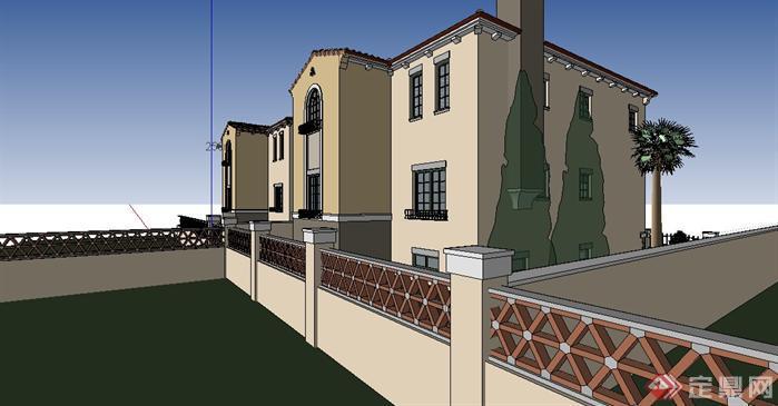 地中海风格别墅建筑设计方案su模型图片