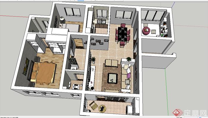 室内设计,现代简约风格,草图大师精细模型方案该作品三维模型制作非常
