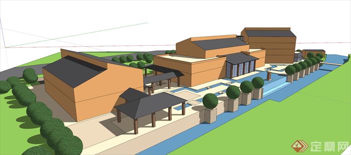 某住宅公寓别墅新中式商业新中式建筑设计方案图,该建筑方案设计布局合理,模型制作非常详细,可以在同类项目中做参考或适当修改后使用。