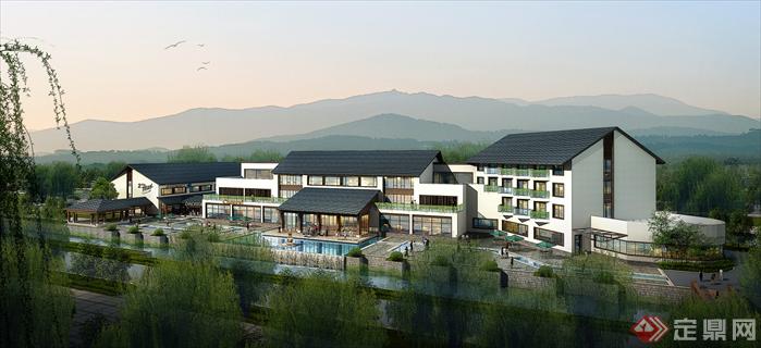 某住宅公寓别墅新中式商业新中式建筑设计方案图