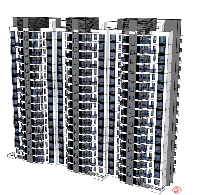 某现代高层住宅建筑设计方案和su模型,该建筑方案设计布局