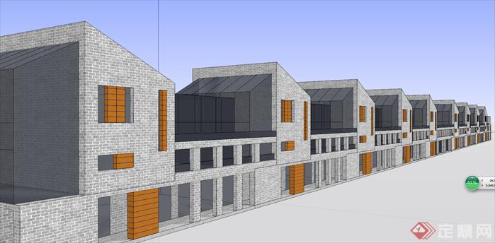 某住宅现代联排沿街商业建筑设计su模型[原创]