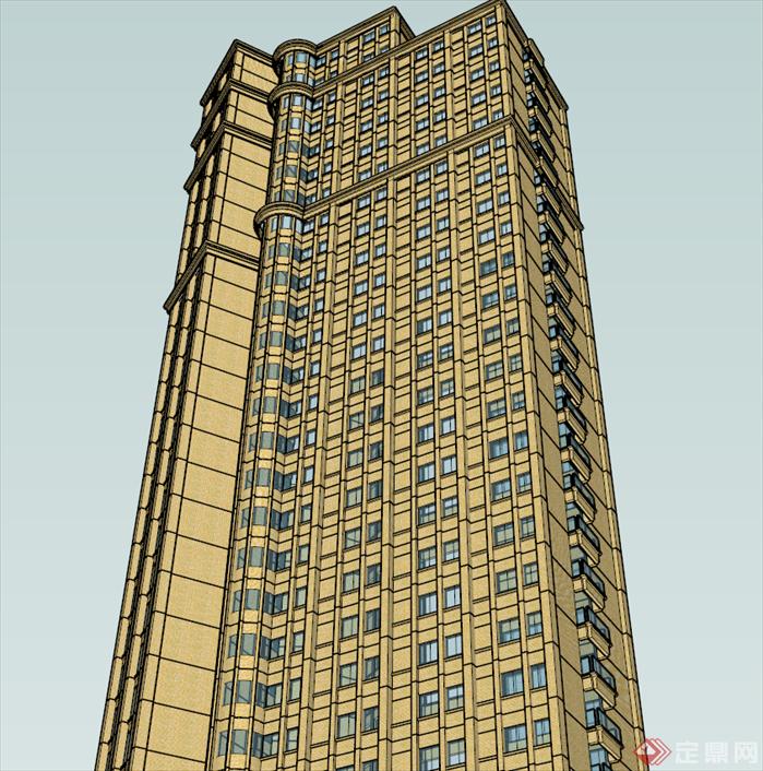 某公建住宅酒店式公寓建筑设计方案su模型[原创]