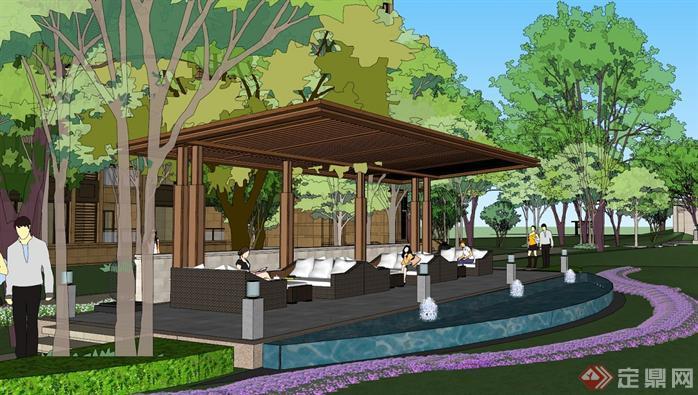 新古典公园壹号高层小区su精致设计模型(带景观)(7)