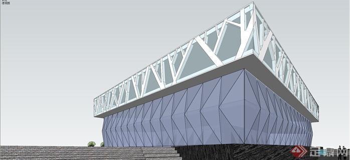 现代风格展厅建筑su精致设计模型[原创]