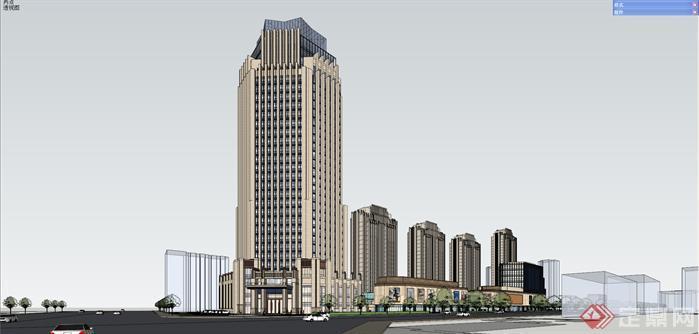 新古典高層建筑su精致設計模型[原創]