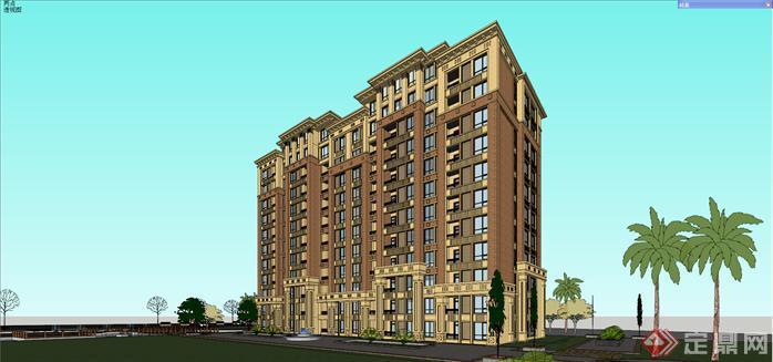 新古典小高层住宅建筑su精致设计模型[原创]