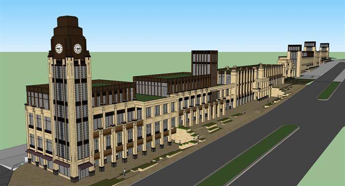 新古典风格坡地商业建筑su模型设计[原创]