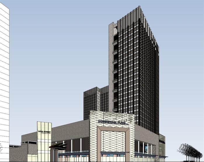现代风格酒店+商业广场方案su精致设计模型(2)