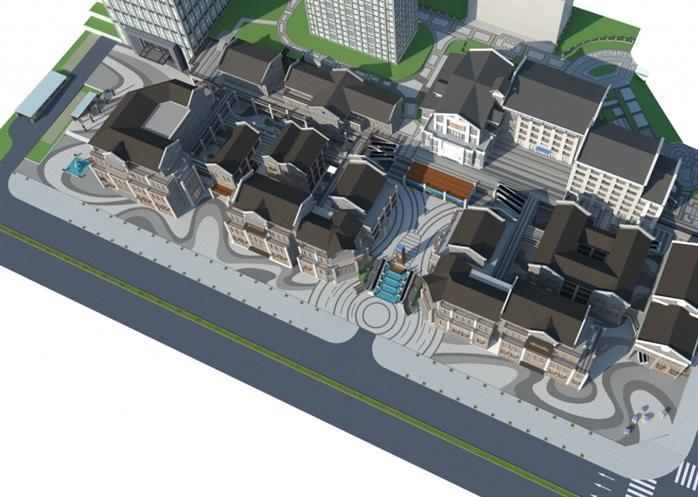 现代新中式商业街建筑SU精致设计模型