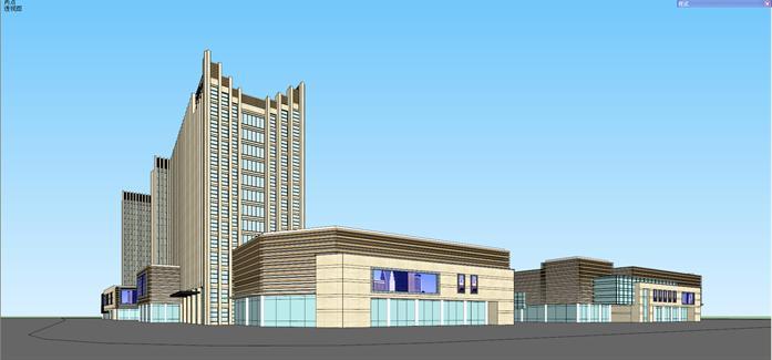 现代商业综合体建筑方案su精致设计模型(1)