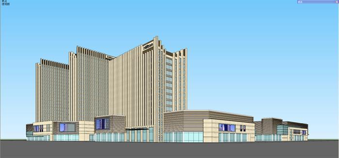 现代商业综合体建筑方案su精致设计模型(2)