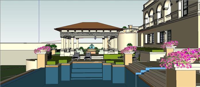 某欧式庭院花园景观设计方案su模型