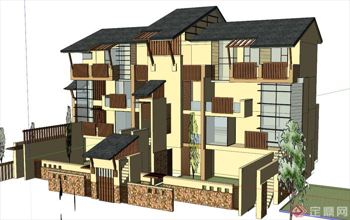某新中式别墅院落建筑方案设计su模型图片