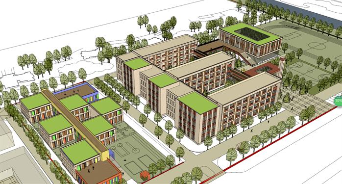 某学校幼儿园建筑设计方案鸟瞰图(2)