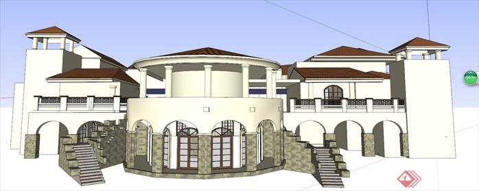 西班牙风格商业街建筑设计方案局部效果图(3)