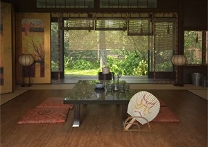 日式风格室内装修设计3d模型