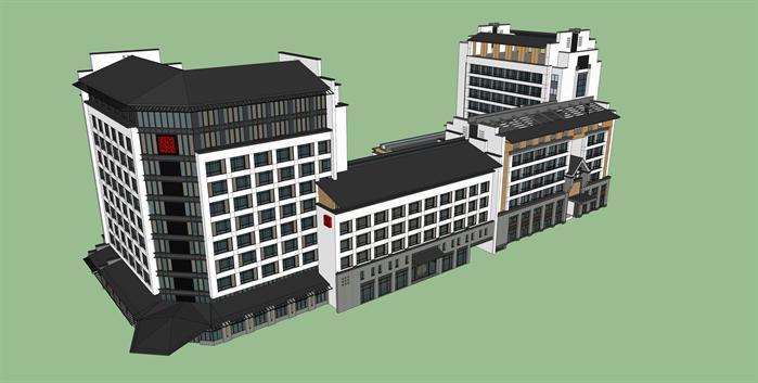 新中式度假酒店综合体sketchup精致设计模型(1)