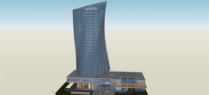 超酷高层商业综合体sketchup精致设计模型(1)