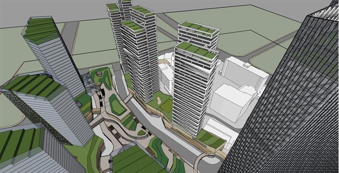 潘家湾商务综合体sketchup精致设计模型(1)